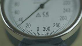 Using Medical Tonometer. Macro Tonometer Blood Pressure Arrow stock video