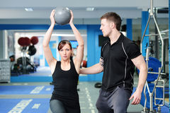 Free Using Medicine Ball With Personal Trainer Stock Photos - 34066053