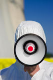 Using a megaphone Stock Photography