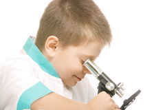 Using microscope sideview Stock Photo