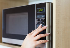 Using microwave oven Stock Image