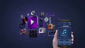 Using mobile application, smart phone, Listening mobile music, entertainment music player.3D icon animation. Using mobile application, smart phone, Listening stock footage
