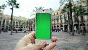 Using Mobile Cell Phone App Against Palm Trees stock footage