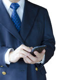 Using Mobile Phone. Business man using mobile phone , isolated on white background Stock Photos