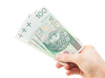 Using money - finances - loan - Poland. Giving money - finances, loan, giving back Stock Photos
