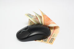 Using money online. By mouse Royalty Free Stock Images