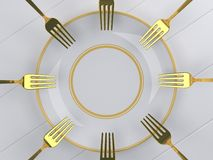 Using multiple dip fork into the dish. Stock Images