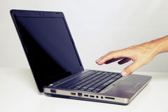 Using my laptop computer Royalty Free Stock Photo