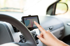 Using Navigation Device Royalty Free Stock Photos