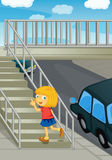 Using the overpass. Illustration of girl using overpass Stock Images