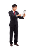 Using pad PC business man. Stock Images