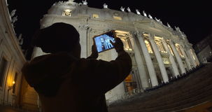 Using pad to shoot photos of night St. Peters stock footage