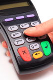 Using payment terminal, enter personal identification number Royalty Free Stock Images