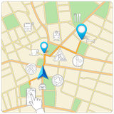 Using phone for street map navigation vector Royalty Free Stock Photo