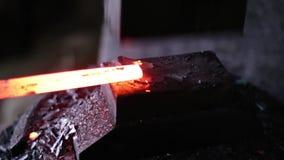 Using pneumatic hammer to shape hot metal. stock video