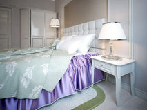 Using of purple color in bedroom Stock Image