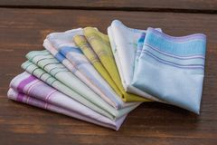 Reusable 100 percent cotton handkerchiefs. Using reusable textile, pure cotton colourful handkerchiefs for blowing nose instead of single use paper tissues Stock Photo