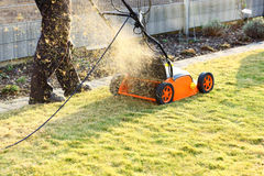 Using a scarifier Stock Photo