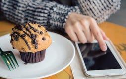 Using smart phone anywhere Stock Photos