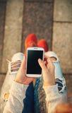 Using smart phone Stock Image
