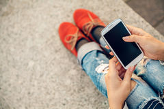 Using smart phone Royalty Free Stock Images
