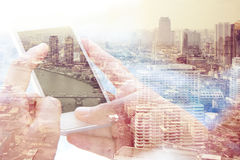 Using smart phone double exposure. Royalty Free Stock Images