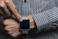 Using smart watch Royalty Free Stock Photography