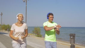 Using Smart Watch during the Morning Jogging stock video