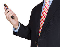 Using smartphone. Businessman using smartphone , isolated on white background Stock Image
