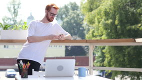 Using Smartphone, Browsing, Standing in Balcony of Office Outdoor, Gesture. Creative designer , businessman stock footage