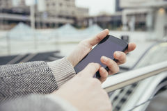 Using smartphone city Royalty Free Stock Photography