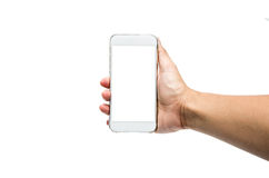 Using smartphone isolated. Hand holding  a white smartphone Stock Images