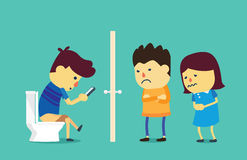Using smartphone long time in toilet. People wait on a long time at front toilet because young man using smartphone on flush toilet. This illustration about Stock Images