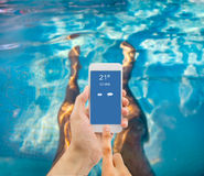 Using the smartphone at the spa Royalty Free Stock Photos