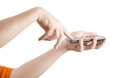 Using smartphone. Two hands holding smart phone, side view, clipping path Stock Image