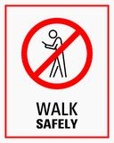 Using smartphone while walking sign vector illustration stock illustration