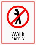 Using smartphone while walking sign vector illustration royalty free illustration