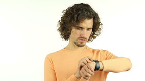 Using Smartwatch, Man with Curly Hairs. +++ , creative designer , curly hair man  , businessman stock video