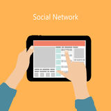 Using Social Network Concept Flat Vector Stock Image
