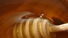 Using spoon for honey in wooden bowl, close up. Honey in wooden bowl, using spoon for honey, close up stock video