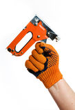 Using a Staple Gun Royalty Free Stock Photos