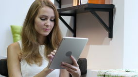 Using Tablet for Browsing Online, Young Girl. Young Designer , Creative Designer stock video footage
