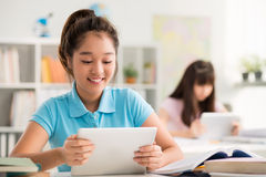 Using tablet in class Stock Photos
