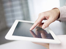 Using tablet computer Stock Image