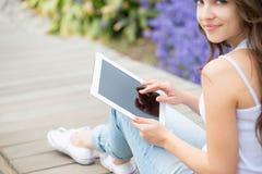 Using tablet computer close-up Stock Photos