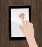 Using Tablet On Desktop. Static `movement` of a female hand, interacting with a GUI of a tablet PC. Vector illustration in hand-drawn style Stock Photography