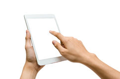 Using tablet isolated. Hands holding and pointing to a white tablet Stock Photos