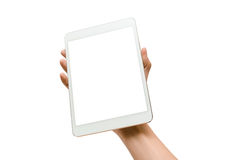 Using tablet isolated. Hands holding  a white tablet Royalty Free Stock Photography