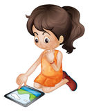 Using a tablet pc. Illustration of a girl using a tablet Stock Photo