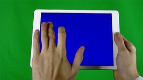 Using Tablet Pc With Blue Screen stock footage